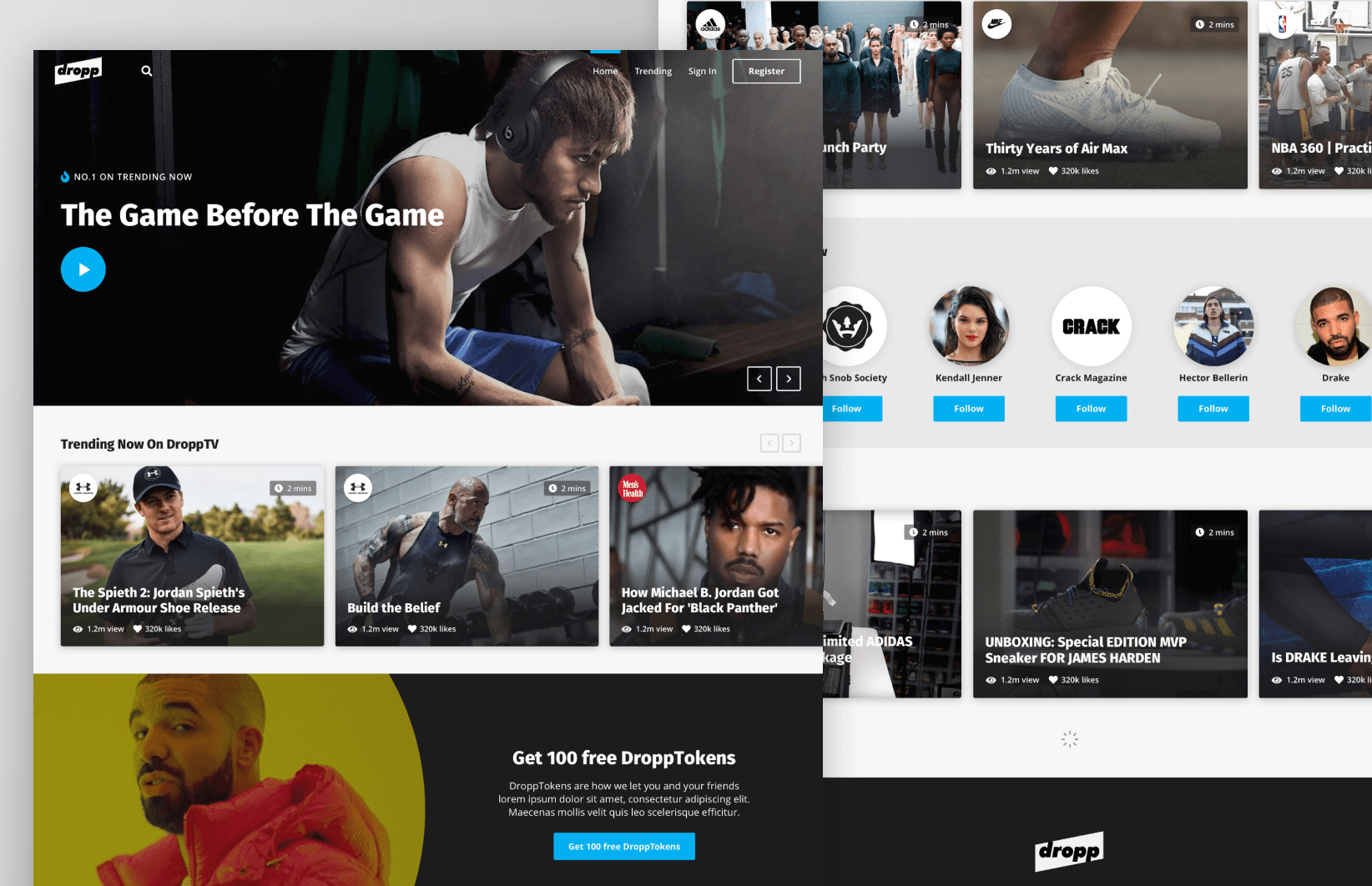 DroppTV - Website interface designs