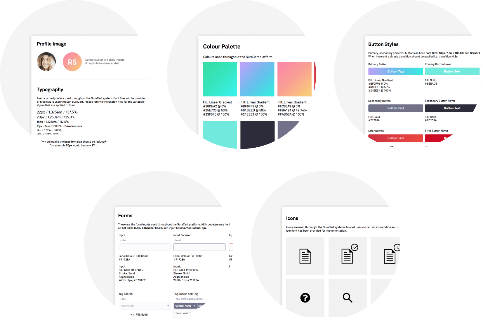Surecert - Design system examples